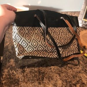 Tignanello Black/Cream Shoulder Bag